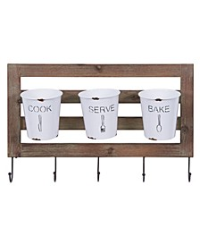 Farmhouse Hanging Utensil Caddy with Hooks and Removable Tin Buckets