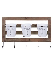 Danya B. Farmhouse Hanging Utensil Caddy with Hooks and Removable Tin Buckets