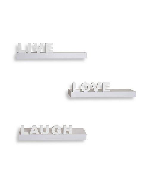 "Danya B Decorative ""Live"" ""Love"" ""Laugh"" Wall Shelves - Set of 3"