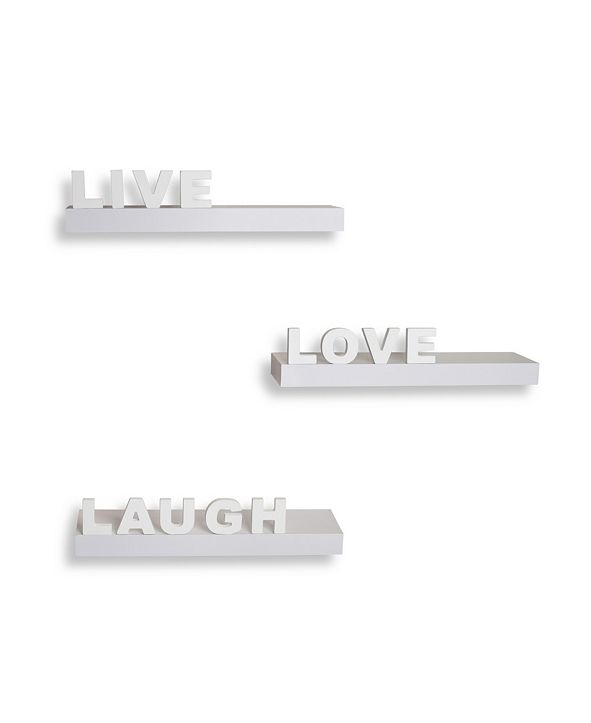 "Danya B Decorative ""Live"" ""Love"" ""Laugh"" Wall Shelves - Set of 3"