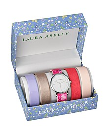 Silver Slidethrough Interchangeable Sleek Dial Floral Straps Set Watch