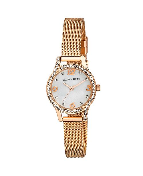 Laura Ashley Mini Rose Gold Mesh Bracelet Watch