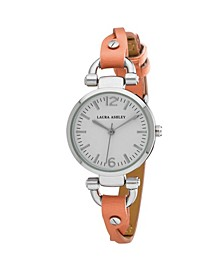 Orange Ladies' Dial Analog Display Twisted Band Round Watch