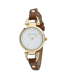 Laura Ashley Ladies' Logoed White Dial With Analog Display Twisted Tan Band Round Watch