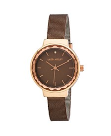 Ladies' Brown Facet Bezel Sunray Dial Mesh Watch