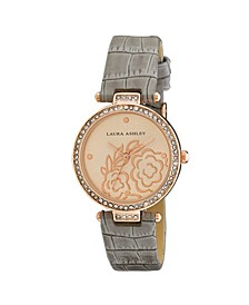 Ladies' Rose Gold Crystal Bezel T-bar Floral Grey Alligator Strap Watch