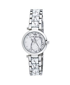 Silver Marbleized Inner Link and Dial Bracelet Watch