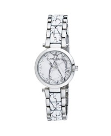 Laura Ashley Silver Marbleized Inner Link and Dial Bracelet Watch