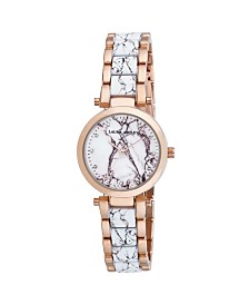 Laura Ashley Rose Marbleized Inner Link and Dial Bracelet Watch