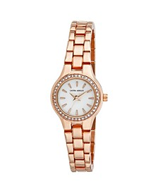 Rose Gold Mini Link Crystal Bezel Bracelet Watch