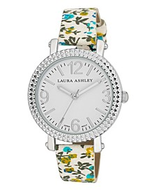 Women's Blue Floral Band Fluted Bezel Watch