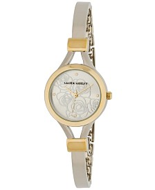 Laura Ashley Ladies' Two Tone Gold Thin Bangle With Floral Dial Watch