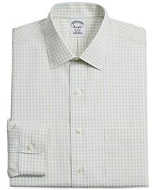 Men's Regent Slim-Fit Non-Iron Green Gingham Supima Cotton Dress Shirt