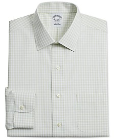 Brooks Brothers Men's Regent Slim-Fit Non-Iron Green Gingham Supima Cotton Dress Shirt
