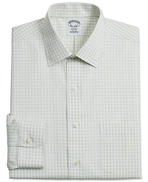 a77e8b3530e ... Brooks Brothers Men's Regent Slim-Fit Non-Iron Green Gingham Supima  Cotton Dress Shirt ...