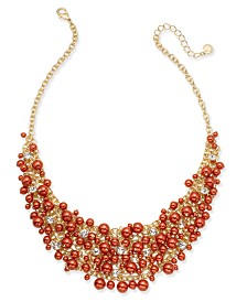 "Charter Club 16"" Glass Pearl Cluster Bib Necklace"