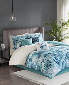 Madison Park Enza California King 7 Piece Cotton Printed Comforter Set
