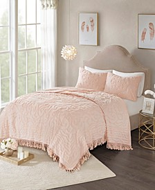 Laetitia King/California King 3 Piece Cotton Chenille Medallion Fringe Coverlet Set