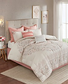 Madison Park Elise Queen 8 Piece Cotton Printed Reversible Comforter Set