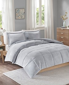 Intelligent Design Carson Full/Queen Reversible Frosted Print Plush to Heathered Microfiber 3 Piece Comforter Set