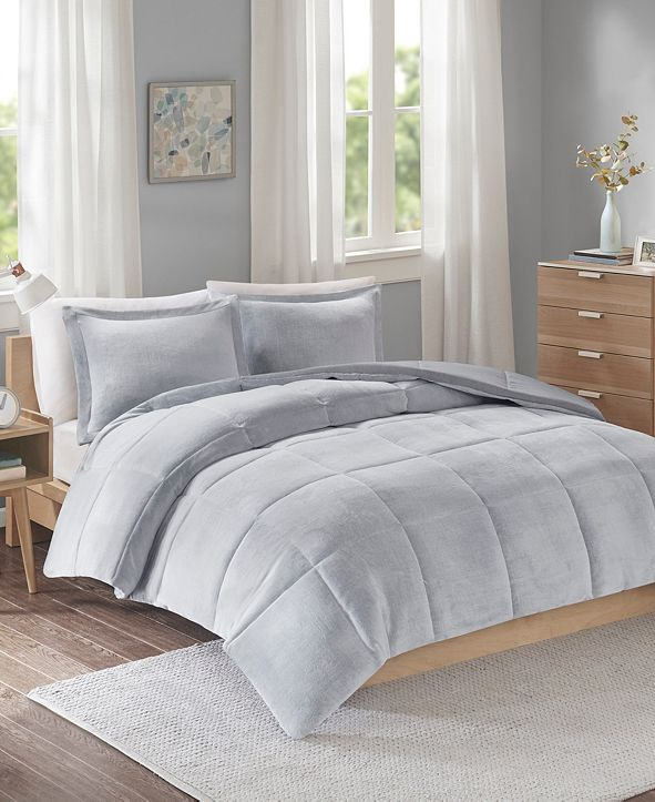 JLA Home Intelligent Design Carson Full/Queen Reversible Frosted Print Plush to Heathered Microfiber 3 Piece Comforter Set