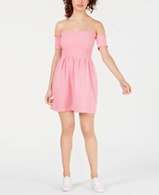 Juicy Couture Smocked Off-The-Shoulder Dress