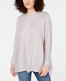 Eileen Fisher Organic Linen Stand-Collar Blouse