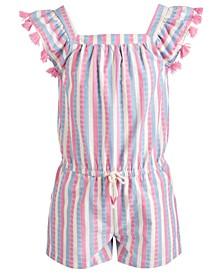 Little Girls Striped Tassel-Trim Romper, Created for Macy's