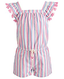 Epic Threads Toddler Girls Striped Tassel-Trim Romper, Created for Macy's