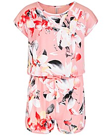 Big Girls Mesh Floral-Print Romper, Created for Macy's