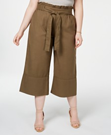 Planet Gold Trendy Plus Size Cotton Paperbag Gaucho Pants