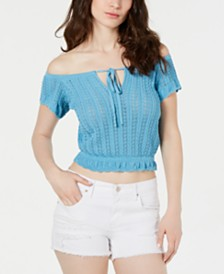 GUESS Caia Off-The-Shoulder Pointelle Top