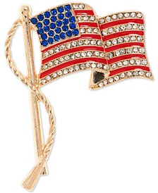 Anne Klein Gold-Tone Pavé American Flag Pin, Created for Macy's