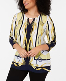 JM Collection Plus Size Keyhole Printed Tunic, Created for Macy's