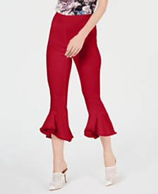 I.N.C. Cropped Ruffle-Hem Pants, Created for Macy's