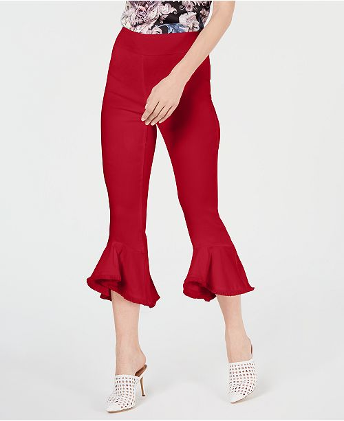 INC International Concepts I.N.C. Cropped Ruffle-Hem Pants, Created for Macy's