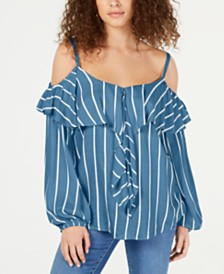 I.N.C. Petite Striped Cold-Shoulder Flounce Top, Created for Macy's