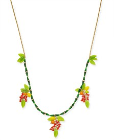 "I.N.C. Gold-Tone Beaded Fruit Long Statement Necklace, 34"" + 3"" extender, Created for Macy's"
