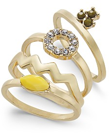 INC Gold-Tone 4-Pc. Set Stone & Crystal Stackable Rings