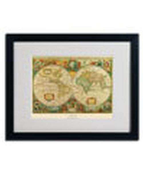 """Trademark Global 'Old World Map Painting' Matted Framed Art - 16"""" x 20"""" x 0.5"""""""