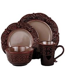 Elama'S Naina 16 Piece Double Bowl Stoneware Dinnerware Set