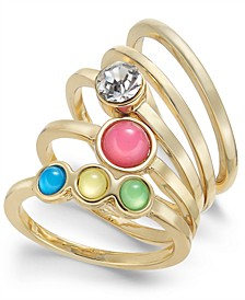INC Gold-Tone 5-Pc. Set Crystal & Stone Stack Rings, Created for Macy's