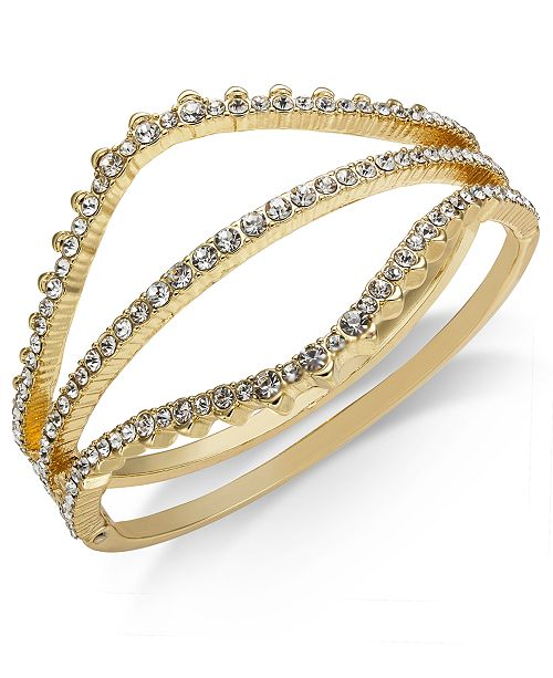 INC International Concepts INC Gold-Tone Crystal Curved Bangle Bracelet, Created for Macy's