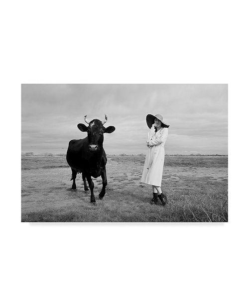 "Trademark Global Mikhail Potapov 'Cow And Girl' Canvas Art - 19"" x 12"" x 2"""