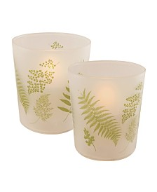 Lumabase Set of 2 Ferns Glass LED Candles