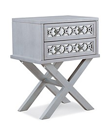 Mirrored Diamond Filigree X Base Nightstand/Table with Two Drawers