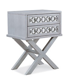 Leick Home Mirrored Diamond Filigree X Base Nightstand/Table with Two Drawers