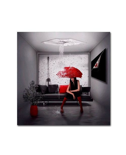 """Trademark Global Natalia Simongulashvili 'Rain In Paris' Canvas Art - 18"""" x 18"""" x 2"""""""