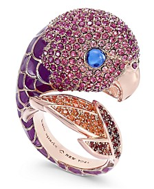 Rose Gold-Tone Crystal Parrot Ring