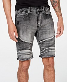 Men's Slim-Fit Moto Shorts
